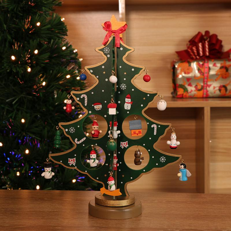 1 x miniature christmas ornaments wooden mini christmas tree desktop tabletop decoration arts and crafts centerpiece kids children gift teaching reward home
