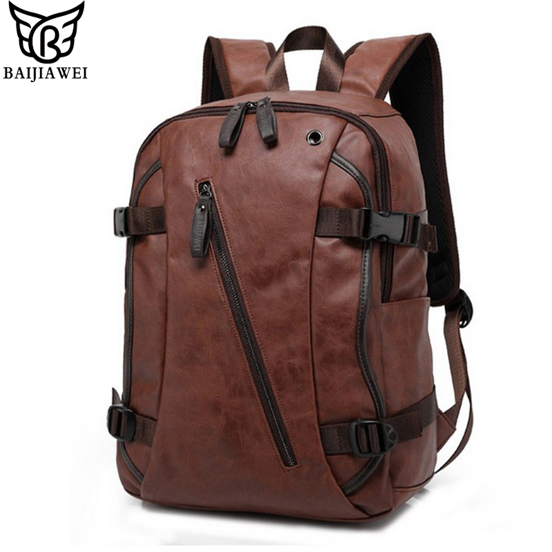 BAIJIAWEI Men PU Patent <font><b>Leather</b></font> <font><b>Backpacks</b></font> Men's Fashion <font><b>Backpack</b></font> & Travel Bags Western College Style Bags Mochila Feminina image