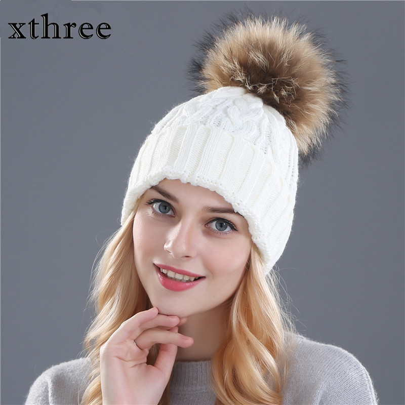 XTHREE  fox fur pompom hat knitted real mink hat Winter Hat For Women Girls Wool Hat Knitted Cotton Beanies Cap winter mink hat for women genuine fox fur pompom hats for women winter cable knitted cap female real mink fur skullies & beanies