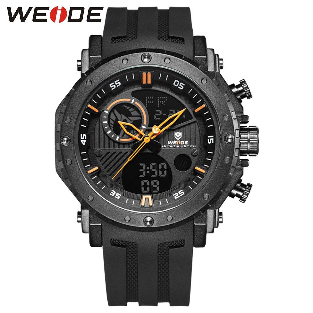WEIDE Digital Male Watch Brand Luxury Men Clock Saat Men's sport Waterproof silicone military Analog watch chronographs