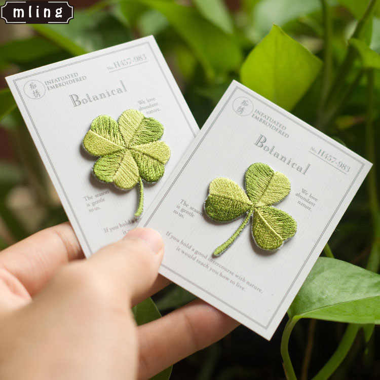 mling 2Pcs Lucky Clover Embroidery Patches Sew on Applique Iron Patch for Clothing Bags Shoes DIY Craft Repair Clothes Patches