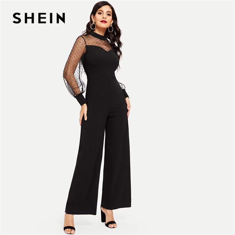 SHEIN Black Sheer Dot Mesh Sleeve Culotte Jumpsuit Elegant Mid Waist Skinny Plain Jumpsuit Autumn Women Party Jumpsuits