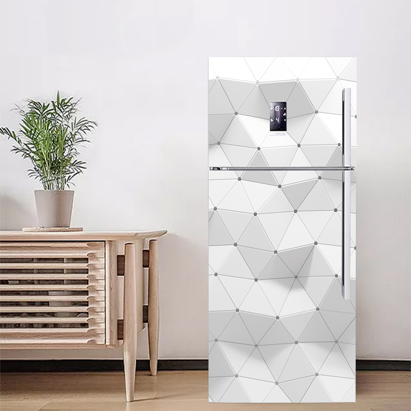 3D Vivid Effect Geometry Pattern Fridge Sticker PVC Refrigerator Door Kitchen Self-adhesive Wall Stickers Wallpaper Decor