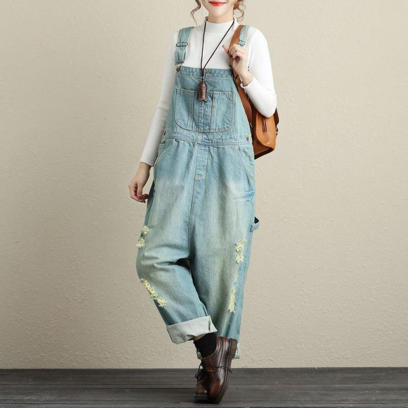 Johnature 2019 New Plus Size Women Jumpsuits Denim Pockets Spring Autumn Loose Patchwork Hole Loose Casual