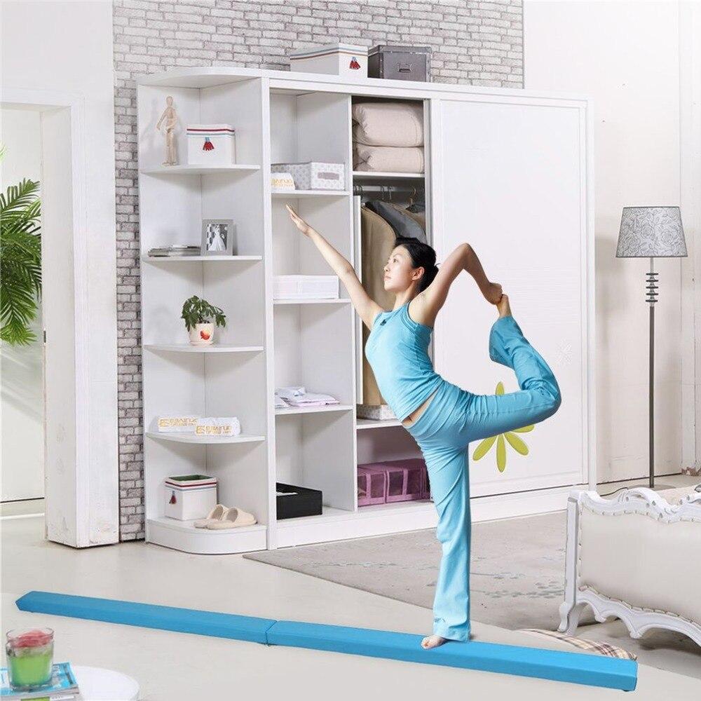 Durable 2.4M Horizontal Bar Folding Balance Beam Women Balance Beam Cushion Adult Children's Gymnastics Gym Training Equipment