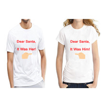 Funny Dear Santa It Was Him Her Print Matching Couples Christmas T Shirts Cute Couples Christmas Clothing Plus Size S-3XL karen christine angermayer hush it s christmas
