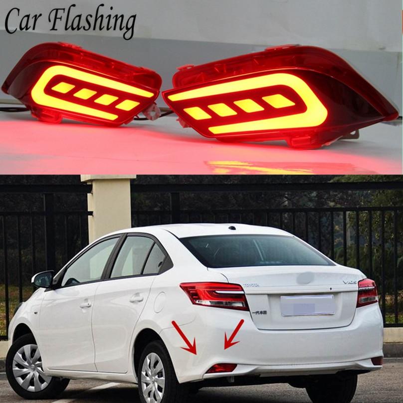 Car Flashing 2pcs For Toyota Vios 2017 2018 Led Drl Rear Bumper Tail Light Fog Lamp Brake Lights Reflector Lamps Car Styling Car Light Assembly Aliexpress