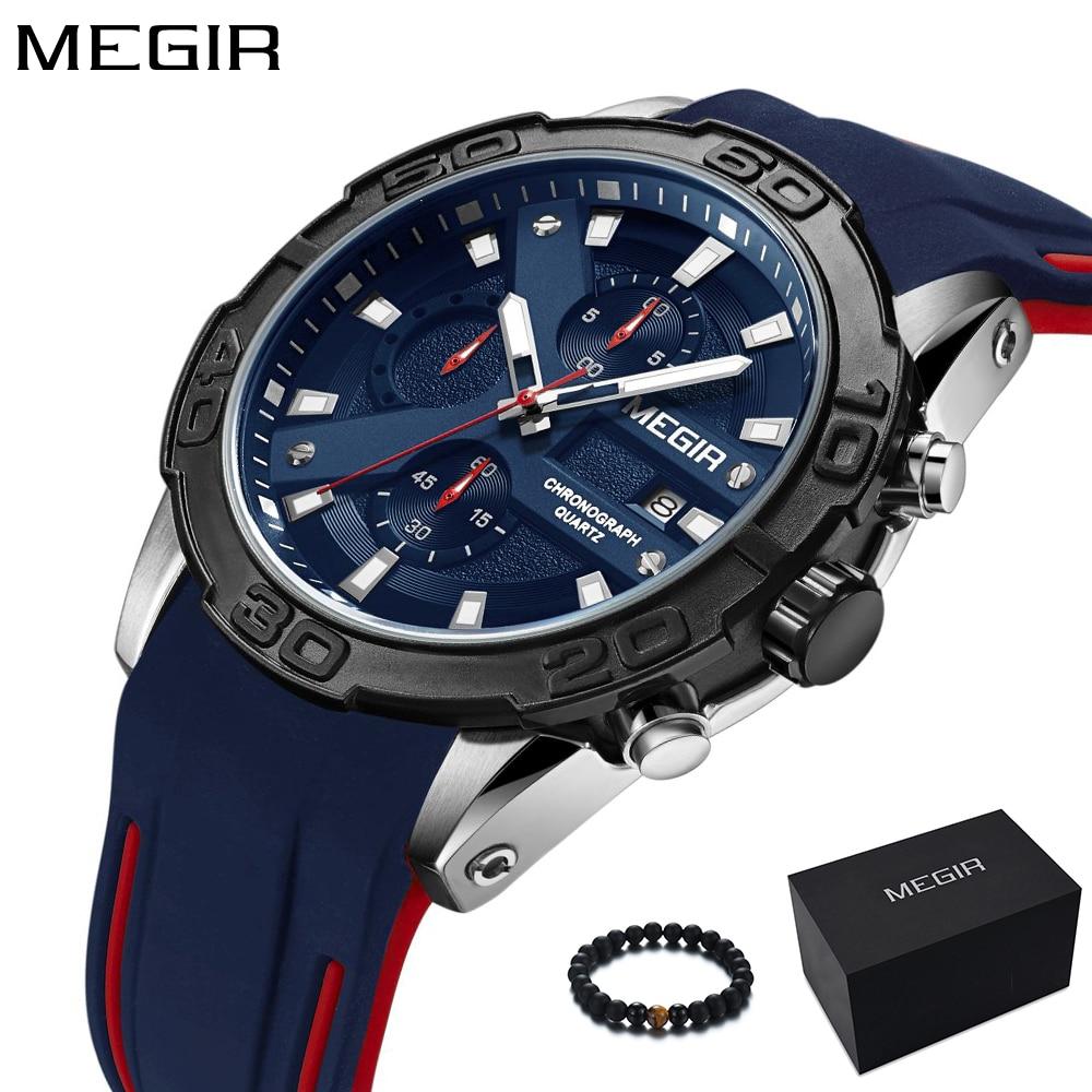 MEGIR New Fashion Sport Watch Waterproof Quartz Watch Men Blue Silicone Band Mens Watches Top Brand Luxury Wristwatch 2018 Hot все цены