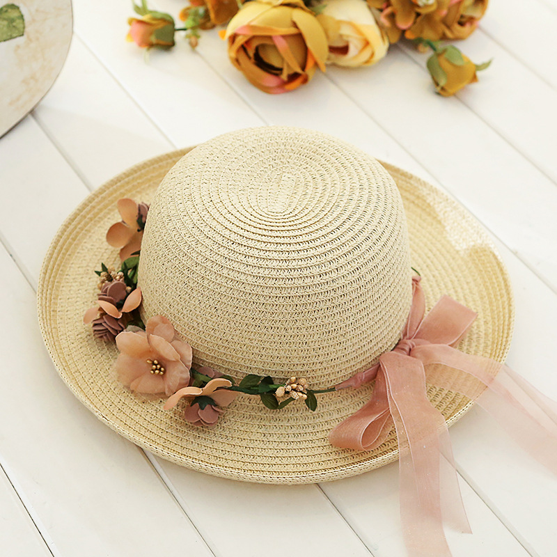 159394740c186a Garland flowers flat topped hat Lady summer beach hat sun hat-in Sun Hats  from Women's Clothing & Accessories
