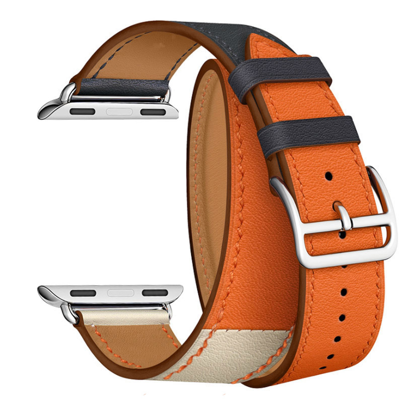 Pour Apple Watch Series 4 Bracelet en cuir véritable Double Tour Bracelet de montre pour Apple Series 1 2 3 iWatch Bracelet de montre 40mm 44mm