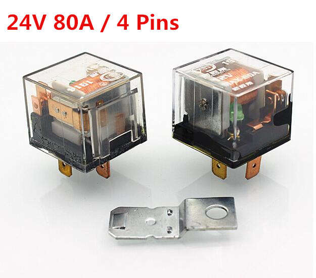 5 Pcs 24V 80A 4 Pin Transparent Car Relay High Power Relay Refires Relay Air Conditioning Horn Relay Auto Lighting Controller