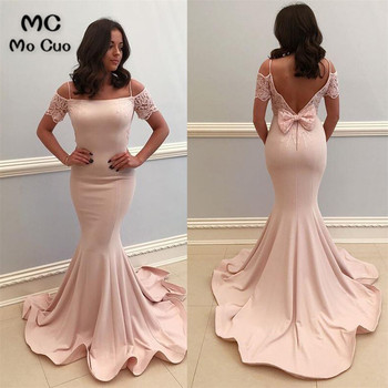 Mermaid Off Shoulder Evening Dresses Lace Straps Prom gown Long In Stock Backless Elastic Satin Women's Evening Party Dresses