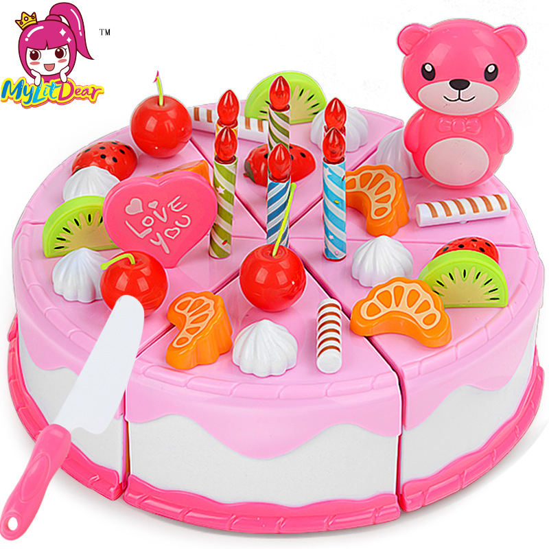 Mylitdear Play Food 37PCS Miniature Kitchen Pink Birthday Cake Toy Children Educational Pretend Play Kids Toys For Girls Gift  birthday cake