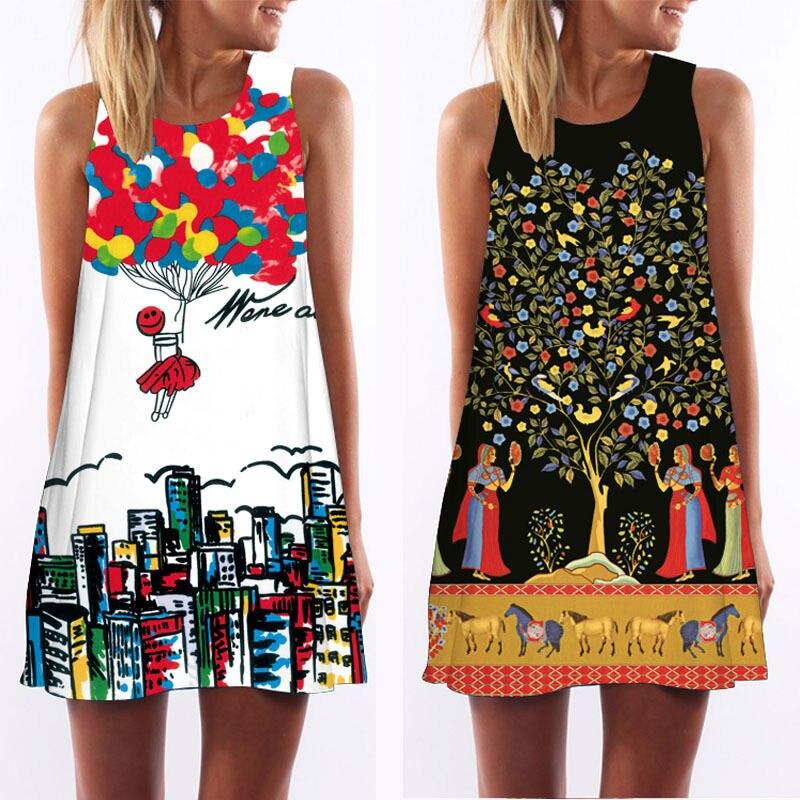 Sleeveless 3D vintage Print summer dress 2017 Boho beach dress sundresses women dresses dashiki hippie boho vestidos plus size