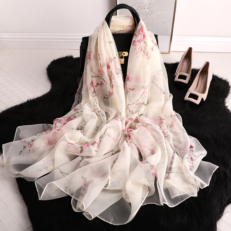 New Arrive Women Flower Printed   Scarf   Long Size Shawls Silk   Scarves     Wrap   Ladies Hijab Female Thin   Wraps   Female Bandana