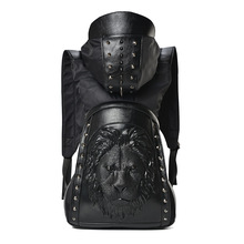 Large Capacity Men Restore 3D Cool Lion backpack gothic embossing bag leather 3D Shoulder Bag with Hood Travel Backpack