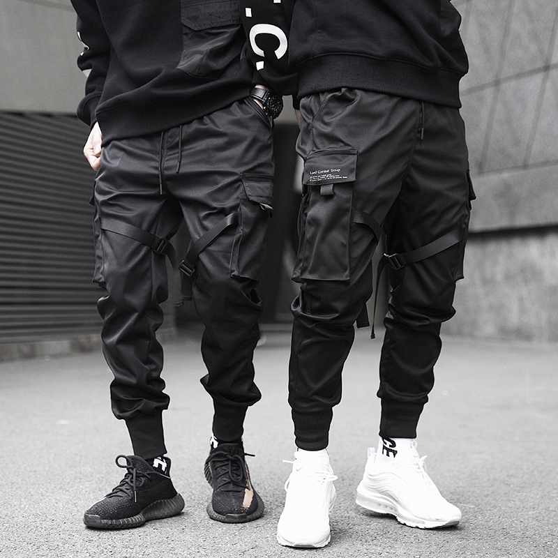 Men Ribbons Color Block Black Pocket Cargo Sweatpant Hip Hop Trousers