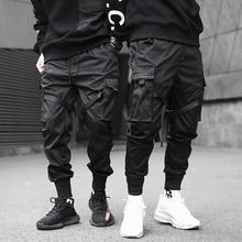 男性リボン色ブロック黒ポケット貨物パンツ 2019 ハーレムジョギング原宿sweatpantヒップホップズボン