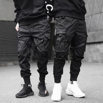 Mężczyźni wstążki color block z czarnymi kieszeniami spodnie Cargo 2019 do biegania w stylu Harem Harajuku spodnie dresowe spodnie hip hopowe tanie i dobre opinie YWSRLM Ołówek spodnie Poliester Bawełna Elastyczny pas Pełnej długości Mieszkanie Midweight 009-03-3922 REGULAR Suknem