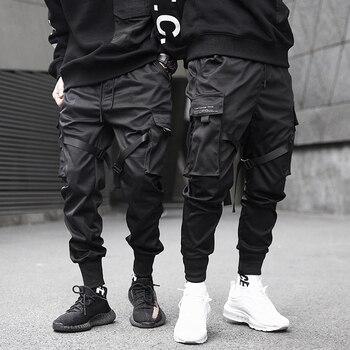 Mężczyźni wstążki color block z czarnymi kieszeniami spodnie Cargo 2019 do biegania w stylu Harem Harajuku spodnie dresowe spodnie hip hopowe