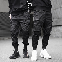 Trousers Ribbons Cargo-Pants Pocket Harem Joggers Color-Block Harajuku Hip-Hop Black