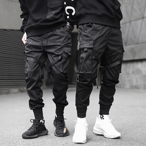 Men Ribbons Color Block Black Pocket Cargo Pants 2019 Harem Joggers Harajuku Sweatpant Hip Hop Trousers(China)