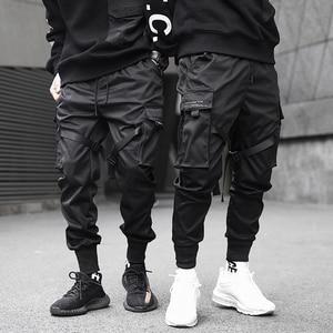 Image 1 - Men Ribbons Color Block Black Pocket Cargo Pants 2019 Harem Joggers Harajuku Sweatpant Hip Hop Trousers