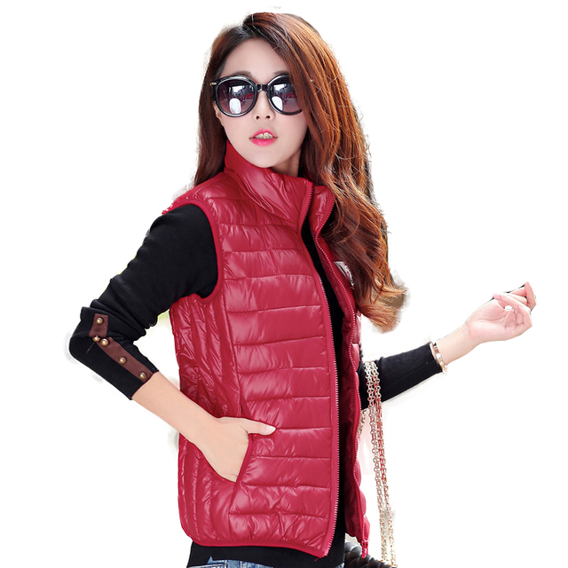 Black vests for womens winter down vests femme quilted vests slim fit  puffer jackets ladies fashion halter neck tops red 59b8fefd82