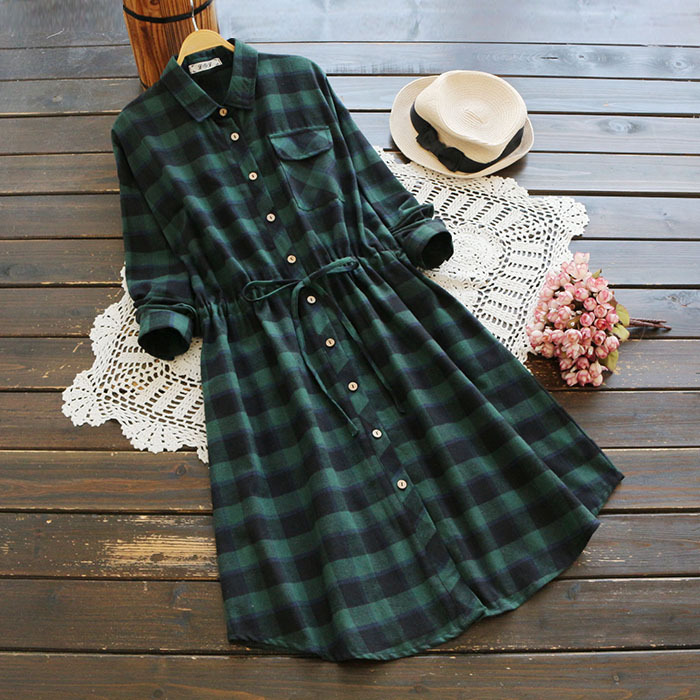 Women Autumn clothes Japanese korean sytle green plaid dress Wool cotton vestido long sleeve shirt dress turn down collar robe