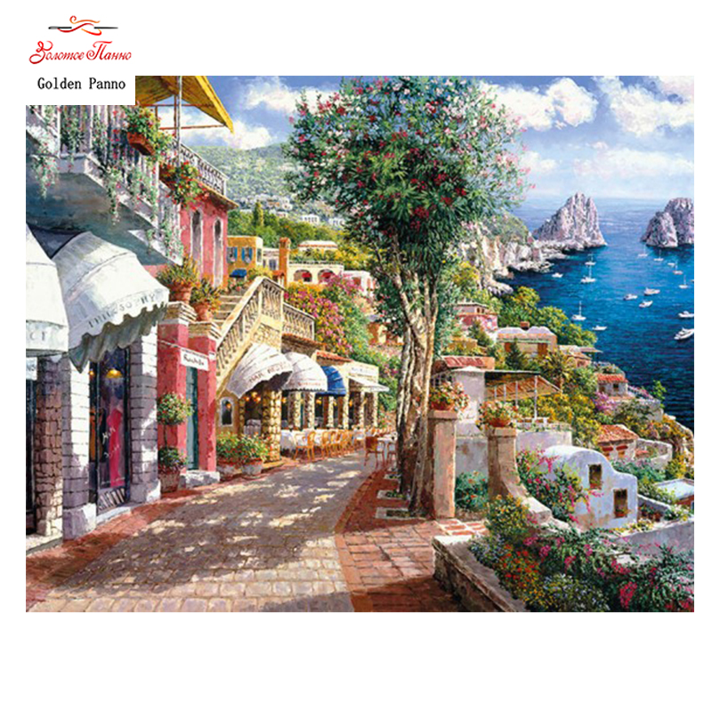 Golden Panno Needlework DIY Cross stitch Sets For Embroidery kit 14ct unprinted seaside town cross Stitching