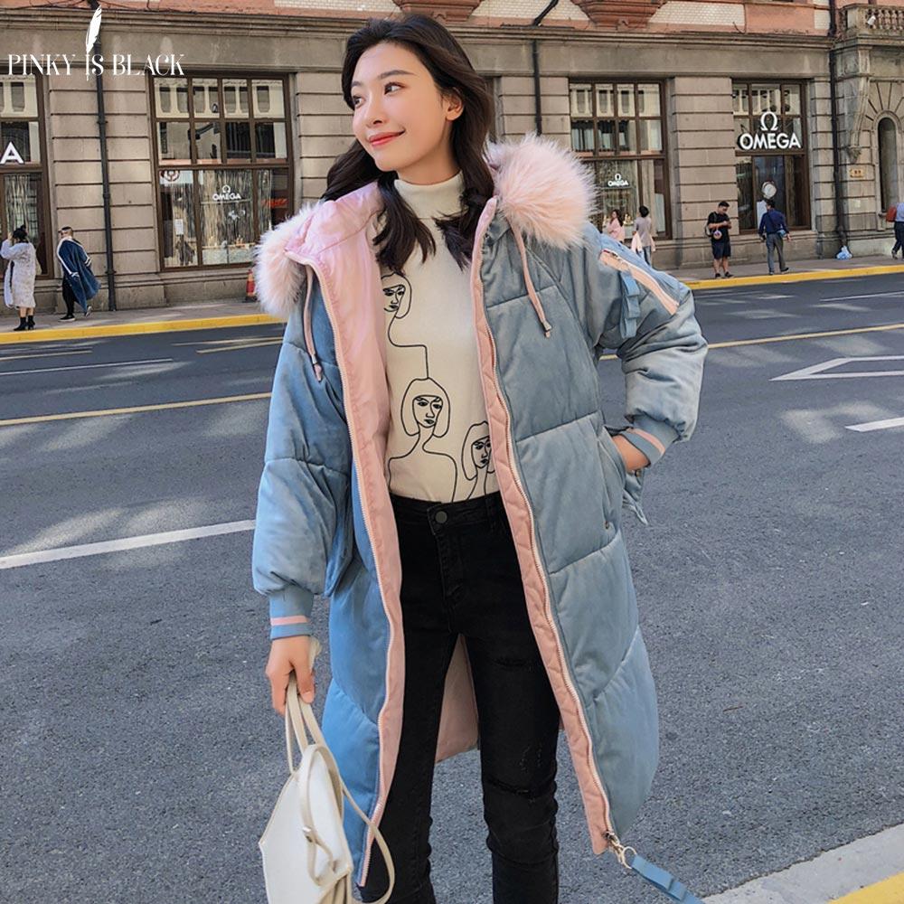 PinkyIsBlack Winter Jacket Women Velvet Thick Warm Long   Parka   Down Jacket Coat Cotton Padded Fur Hooded Women Winter Coat Female