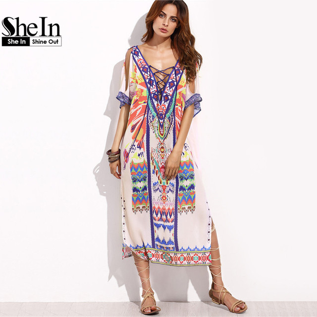 SheIn Boho Woman Summer Beach Dresses Ladies Multicolor Print Crisscross Front V Neck Half Sleeve Split Side Midi Dress