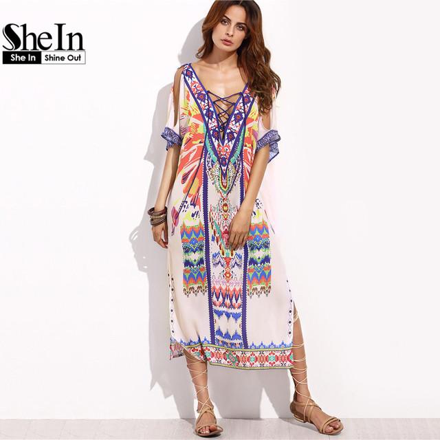 SheIn Boho Woman Summer Beach Dresses Ladies Multicolor Print Crisscross Front V Neck Half Sleeve Split Side Midi Dress