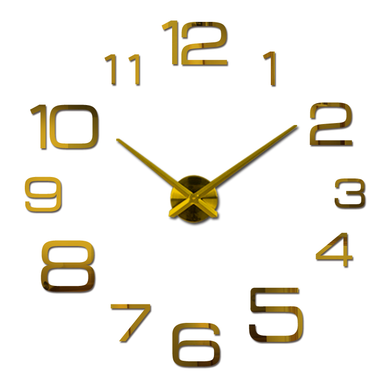 Hot Koop Wandklok Reloj De Pared Acryl Spiegel Klokken Europa Diy 3d Stickers Grote Decoratieve Quartz Horloge Woonkamer