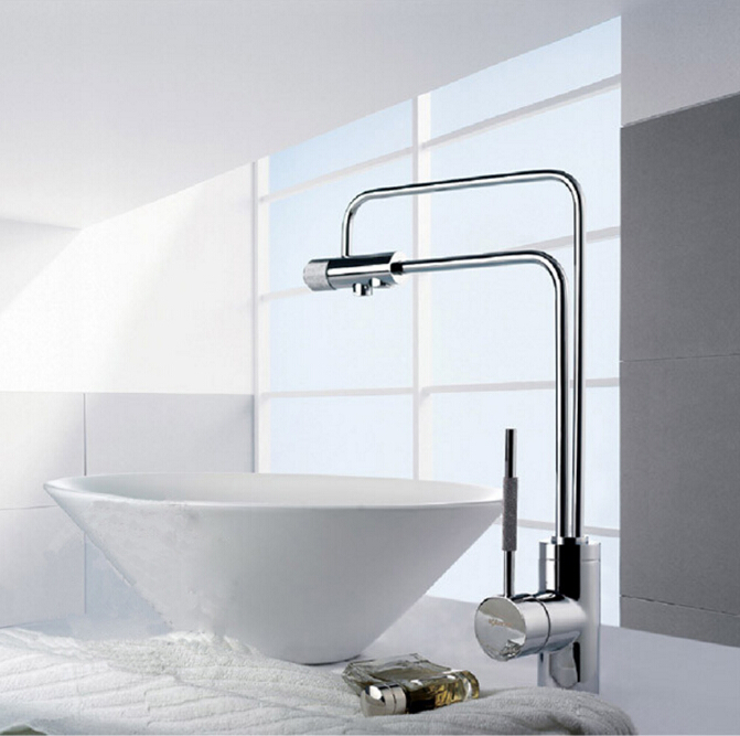 new single lever brass chrome double use hot and cold kitchen sink faucet with direct drinking