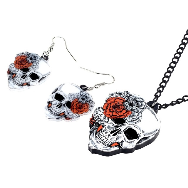 Bonsny Statement Acrylic Halloween Rose Flower Skull Earrings Necklace Chain Jewelry Sets Retro Costumes Decoration For Women 1