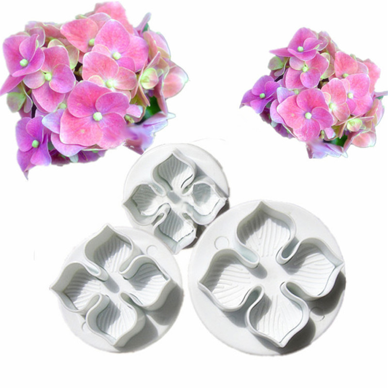 TTLIFE 3Pcs/set Flower Cake Fondant Cookie Cutter Decorating Craft Paste Plunger Mold Cake Decorating Mold Pastry Tools
