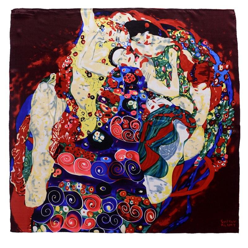 100% Silk Square 90x90cm Women oil painting pattern Scarf Fashion bandana Luxury Scarve Woman Brand Scarfs Shawl High Quality