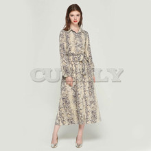 CUERLY women snake skin pattern maxi dresses ankle length long dress bow tie sashes sleeve casual chic QA472