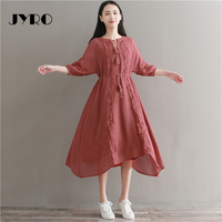 Jyro Brand Mori Women S Dress Spring New Art Stitching Long Loose Large Size Mid Calf