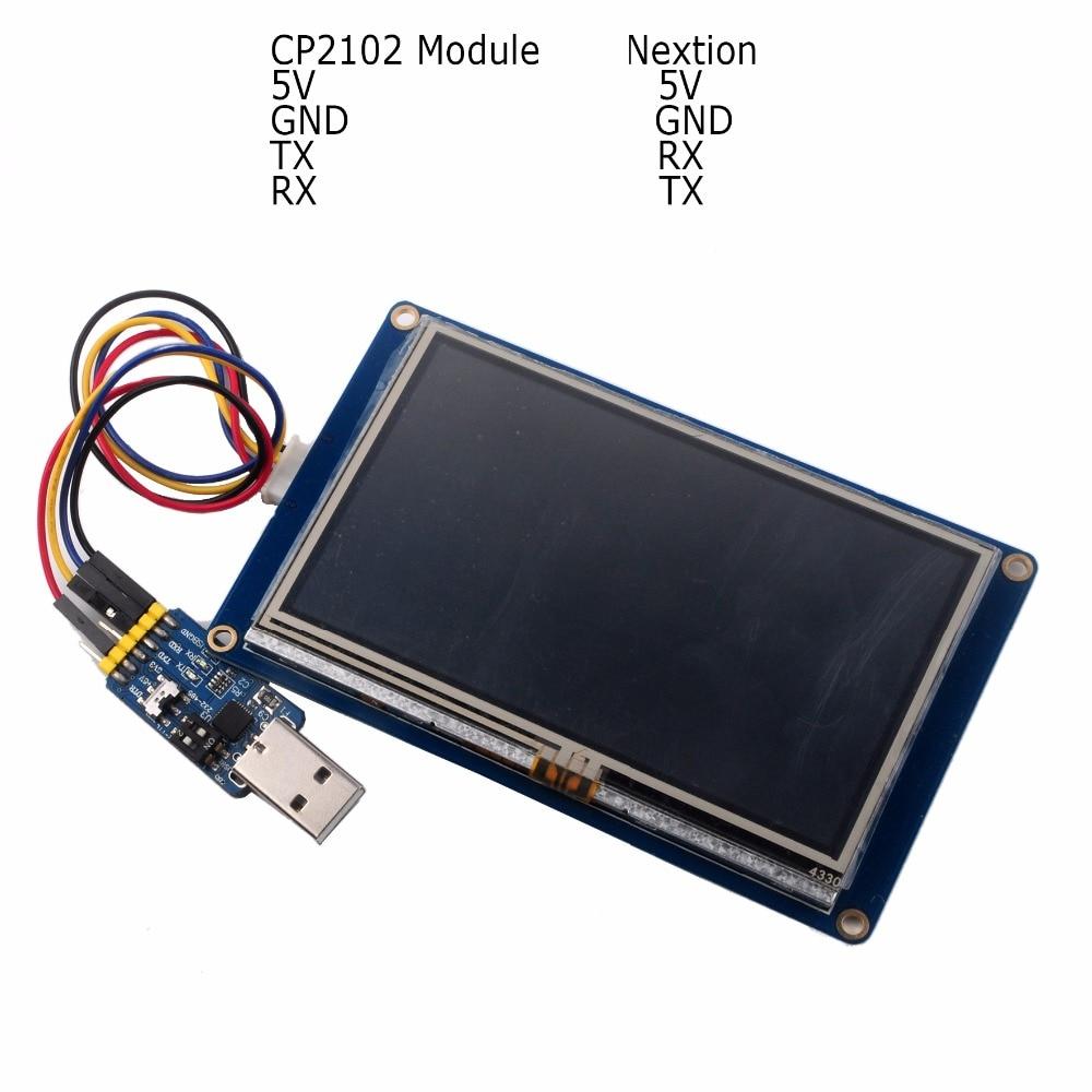 Touch screen resistivo Schermo LCD HMI da 4,3 pollici con cavo NX4827T043