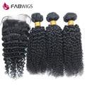 Перуанский Странный Вьющиеся Волосы Девственницы с Закрытия Необработанного Человеческих Волос Weave с Закрытием Перуанский Девственные Волосы с Закрытием