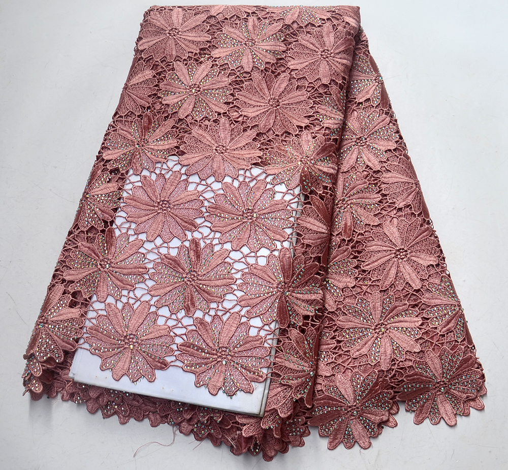 Hot nigerian African cord guipure lace,high quality water soluble lace Fabric for wedding Party dress 5y/lot