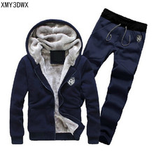 2018 Men's boutique thickening of warm winter sets /Fashion Casual Hooded Tracksuit Men Print Winter Thick Warm Hoodies Sets