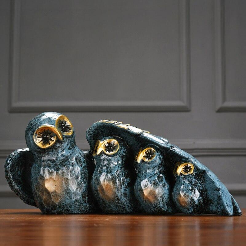 Retro Nostalgic Resin Owl Arts Crafts resinas planas de personajes Creative Animal miniature figurines home decor