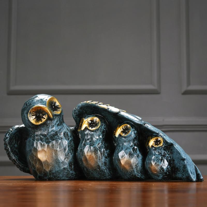 레트로 향수 수지 올빼미 예술 공예 resinas planas de personajes 크리 에이 티브 동물 미니어처 인형 홈 장식 액세서리-에서피규어 & 미니어처부터 홈 & 가든 의  그룹 1