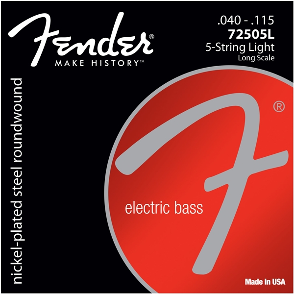 Fender 7250 Nickel Plated Steel Long Scale Bass Guitar Strings, 5 string and 6 strings for Bass 72505L 72505M 72506M