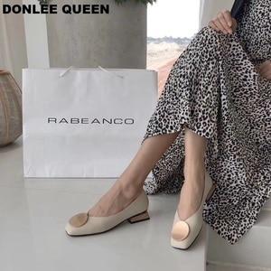 Image 2 - DONLEE QUEEN النساء أحذية مسطحة منخفضة خشبية منخفضة الكعب الباليه ساحة تو الضحلة مشبك ماركة أحذية الانزلاق على المتسكعون zapatos de mujer
