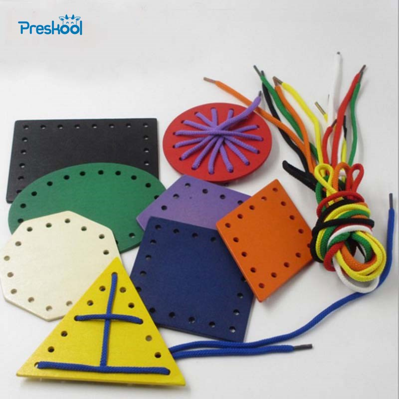 Preskool Wooden Threading Toys Baby Early Education Geometry Board Teaching Aids
