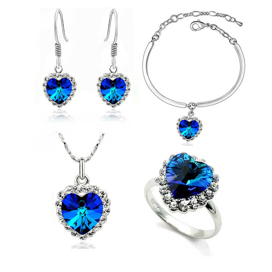 the newest fashion Necklace Earrings darkblue Austrian Crystal rhinestones the heart of ocean Pendant women Jewelry sets
